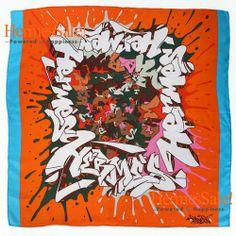 Hermes Graff Silk Twill Scarf 90cm in Orange