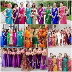 16 Bridesmaid Saris to Dazzle Your Indian Fusion Wedding - bridesmaid sarees in rainbow colors - Multiculturally Wed