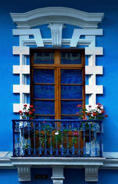 ensphere: (via gates doors windows) Quito, Ecuador Equador Quito, Door Gate, Himmelblau, Window Boxes, Doorway, Architecture Details, Colonial Architecture, Stairways, Windows And Doors