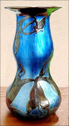 Loetz Cobalt Norma Vase with Sterling Silver Overlay | Collectors Weekly