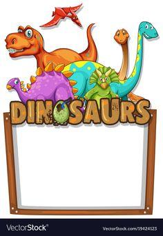Banner template with lots of dinosaurs vector image on VectorStock Dinosaur Images, Cartoon Dinosaur, Happy Birthday Banner Printable, Happy Birthday Banners, Animal Quiz, Dinosaur Alphabet, Rainbow Cartoon, Dinosaur Illustration, Origami Templates