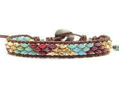 Beaded Wrap Bracelets, Leather Bracelets, Jewelry Bracelets, Boho Jewelry, Beaded Jewelry, Leather Jewelry Making, Bo Ho, Beaded Leather Wraps, Super Duo