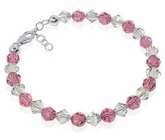 Sterling Silver Pink and Clear Crystal adjustable Bracelet 7 to 8 inch Made with Swarovski Elements Gem Avenue. $16.99. Bracelet Comes with Secure lobster-claw-clasps and Length of this Bracelet is Adjustable from 7 inches to 8 inches. Made in USA. We carry matching Necklace SKU # SCNK065 and Earrings SKU # SCER108. Pink & Clear Made with Swarovski Elements. Gem Avenue sku # SCBR058