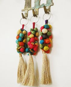 Set of Three Key Chains using Multi Color Fabric Pom by EksayAnek