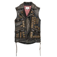 Gucci Studded Leather Vest With Embroidery ($10,220) ❤ liked on Polyvore featuring outerwear, vests, leather & casual jackets, ready-to-wear, women, gucci vest, gucci, embroidered vest, vest waistcoat and leather waistcoat
