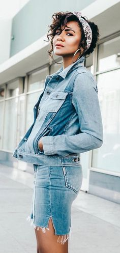 #summer #outfits Denim Jacket + Denim Skirt
