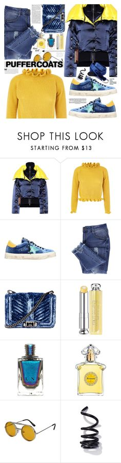 """Stay Warm: Puffer Coats"" by tinkabella222 ❤ liked on Polyvore featuring Versace, Golden Goose, Essie, Rebecca Minkoff, Christian Dior, Guerlain, Spitfire, WALL, Proenza Schouler and Midway"