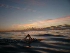 open water swim/  sun setting on the water/  serene, deep in thought   ~msnoberger #swim