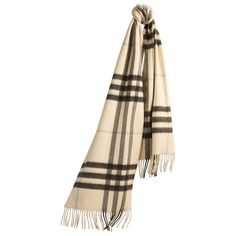 The Burberry Classic Cashmere Scarf in Check featuring polyvore, fashion, accessories, scarves, fringe scarves, cashmere shawl, woven scarves, burberry scarves and fringed shawls
