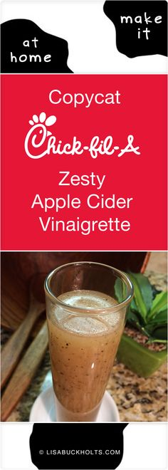 Copycat Chick-fil-A Zesty Apple Cider Vinaigrette. This dressing is amazing…the zing of the apple cider vinegar, hint of sweet pineapple and tangy lime juice, and warm heat of the freshly-cracked black pepper is a sure winner! #Chickfila