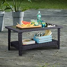 CANVAS Emerson Collection Patio Coffee Table features all-weather resin wicker with a classic styling Made of a steel frame with a powder-coated, rust-resistant Diy Pergola, Pergola Kits, Backyard, Patio, Canadian Tire, Bistro Set, Jacksonville Fl, Home Kitchens, Outdoor Living