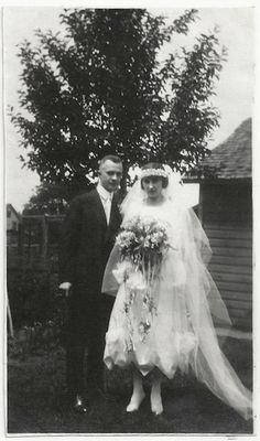 Old Photo Bride and Groom Flower Bouquet Wedding 1921 Photograph Snapshot vintage Woman Man