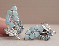 Rhinestone Earrings, Vintage Rhinestone, Vintage Earrings, Vintage Silver, Clip On Earrings, Silver Earrings, Diamond Earrings, Vintage Jewelry, Stud Earrings