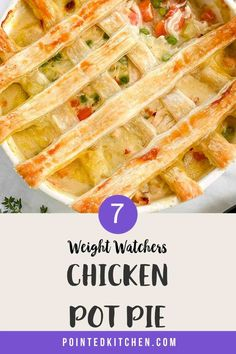 This lovely Chicken Pot Pie is 7 SmartPoints per HUGE portion on Weight Watchers Blue Weight Watchers Pasta, Weight Watcher Dinners, Frozen Puff Pastry, Puff Pastry Sheets, Friend Chicken Recipe, Fish Recipes, Chicken Recipes, Pie Tops, Thing 1