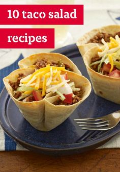 10 Taco Salads — Treat your family to some South-of-the-Border flavor tonight with our tasty taco salad recipes.