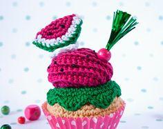 Cupcake de crochet de sandía #25 [Summer collection]