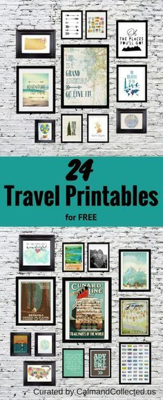 Gorgeous Travel Gallery Wall - 24 FREE printables. I absolutely ADORE how she set this all up!