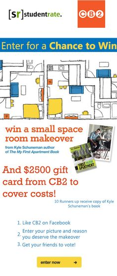 Head over to CB2's Facebook and enter for your chance to win a small space makeover and a $2500 gift card!