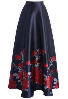 Flower Season Chiffon Maxi Skirt in Navy - Maxi Skirt - TREND AND STYLE - Retro, Indie and Unique Fashion