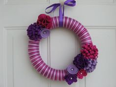 Spring Wreath, Pink and Purple Yarn Wreath, Door Wreath, Bright Wreath, Yarn and Felt Flower Wreath 12 inches