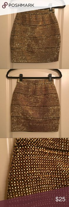 High Fashion Disco Skirt Gold slim mini disco skirt. Super hot! But it's just been sitting in my closet! Can't remember if I got it from Urban Outfitters or ASOS # nasty gal # dolls kill # unif # misguided # rockstar # festival # glitter # sparkles # chic Urban Outfitters Skirts Mini
