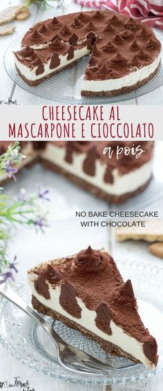 Cheesecake with mascarpone and philadelphia without cooking with chocolate inserts . Cheesecake Cookies, Cheesecake Recipes, Chess Cake, Nutella, Scones Ingredients, Italian Cake, Best Cheese, Chocolate Recipes, Bolo De Chocolate