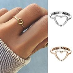 bff gifts DESCRIPTION Love Heart ring, charming and attractive on all occasions Great accessory and decoration for your daily and formal dress. A nice gift for yourself and your friends. Material: Alloy Color: silver and gold Size: US 7 Package In. Friendship Letter, Friendship Jewelry, Friend Friendship, Diy Friendship Gifts, Best Friend Rings, Best Friend Jewelry, Best Friend Bracelets, Bff Birthday Gift, Birthday Gifts For Best Friend