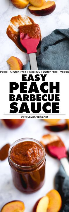 This Peach Barbecue Sauce is the sauce of summer! Tangy, unsweetened, and vinegar-based, you probably have all the ingredients in your kitchen already. Paleo, Whole30, and vegan! | DoYouEvenPaleo.net
