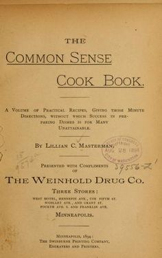 The common sense cook book