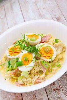 Blumenkohl in Käse-Kräuter-Soße mit Schinken und Ei! Low Carb und sehr einfach, günstig und lecker!