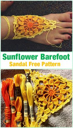 Crochet Sunflowr Barefoot Sandals Free Pattern - Crochet Women Barefoot Sandal Anklets Free Patterns