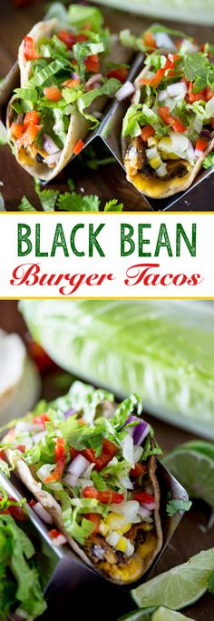 Chipotle Black bean burgers made into vegetarian tacos for an easy weeknight meal - Eazy Peazy Mealz Burger Recipes, Lunch Recipes, Mexican Food Recipes, Copycat Recipes, Catering Recipes, Dinner Recipes, Mexican Meals, Fondue Recipes, Catering Ideas