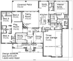 Excellent Ultra Modern House Plans With Three Car Tandem Garage - Modern house floor plans
