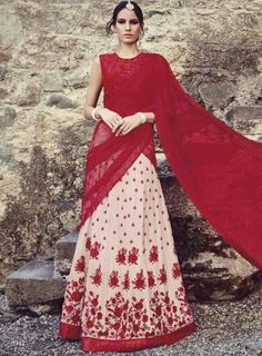 #Cream and #Red Georgette and Net #LehengaCholi Beautiful cream and red color georgette and net lehenga choli. Hand work embroidery completes with kali, sequins, zari and stone work is present on this heavy lehenga style.