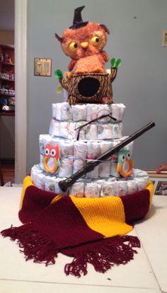 Harry Potter diaper cake for baby boy shower!