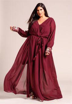 Plus Size Slit Embellished Sleeve Maxi Dress