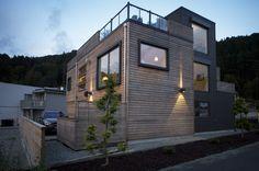 U- 590 med takterrasse og god utebelysning. House Plans, Villa, New Homes, Exterior, Mansions, Future, Architecture, House Styles, Garden