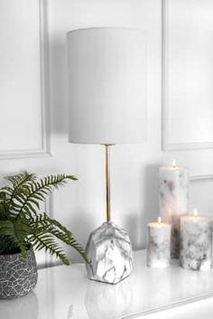 Rugs USA Marble Alva Maya Ceramic Linen Shade Table Lamp lighting - Contemporary Lighting H x W x D My Living Room, Living Room Decor, Bedroom Decor, Home Office Decor, Diy Home Decor, Marble Lamp, Ceramic Table Lamps, Pipe Lamp, Rugs Usa