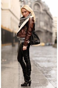 Leather&scarf