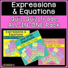Expressions and Equations Quiz Quiz Trade All-In-One Pack Math Activities, Teacher Resources, 12th Maths, One Step, Cooperative Learning, Expressions, Fifth Grade, Student Engagement, Elementary Teacher