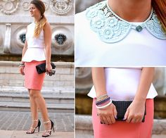 Glamorous Blouse, H Collar, Vintage Skirt, Stradivarius Bracelets, Zara Heels