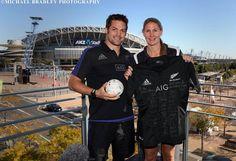 07.08.2015 All Blacks Richie McCaw and Silver Ferns Casey Kopua ahead of their Test Matches in Sydney, Australia. Mandatory Photo Credit ©Michael Bradley.