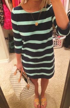 Stripe dress, monogram necklace and Jack Rodgers