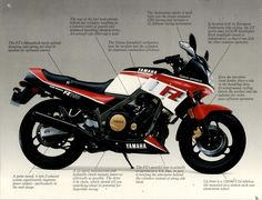 I own this exact model and color scheme 1986 Yamaha It was my first bike and continues to be an excellent ride. This is a good link to the dealer brochure and OEM literature. Classic Motors, Classic Cars, Yamaha Fz, Atv Accessories, Cars And Motorcycles, Yamaha Motorcycles, Vintage Motorcycles, Sportbikes, Bike Life
