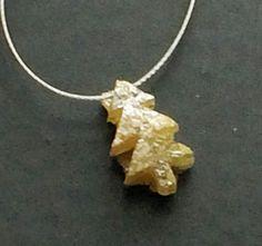 1 Pc 4x7mm Yellow Rough Diamond Christmas Tree by gemsforjewels