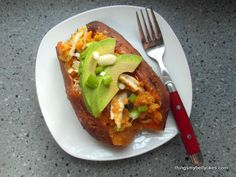 Chicken and Avocado Twice Baked Sweet Potato by Things My Belly Likes. #paleo