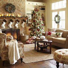 Cozy christmas, christmas room, christmas interiors, christmas time is here Christmas Interiors, Christmas Living Rooms, Christmas Room, Cozy Christmas, Country Christmas, Beautiful Christmas, Christmas Holidays, Xmas, Christmas Stockings