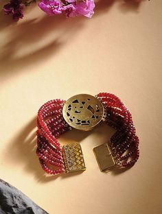 Buy Ruby and Polki Gold Bracelet Online at Jaypore.com Bangle Bracelets, Bangles, Shopping Coupons, Pink, Gold, Stuff To Buy, Accessories, Jewelry, Bracelets