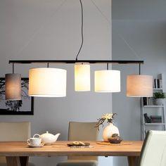 Pendelleuchte Kamia - Stoff/Metall - Fashion For Home