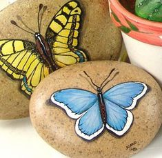 Painted Stones, Butterfly Motif / Duckling Pond